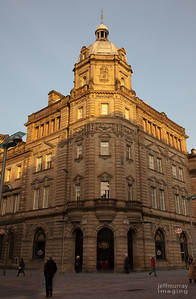 Love this corner, I see it when I walk out of Central Station.  It's always busy at night as a restaurant and I love it most, when it is like this with the sun hitting it in the morning.  Fridays is the name of the Restaurant on the ground floor.  Proof we do see the sun and blue skies in Scotland.