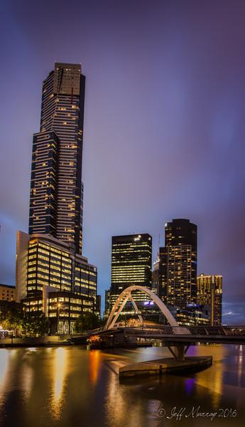 A pedestrian Bridge linking Flinder's Street Station and Southbank at the Eureka Tower.