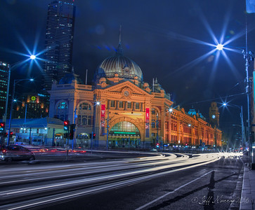 Light trails at Flinder's Street station.