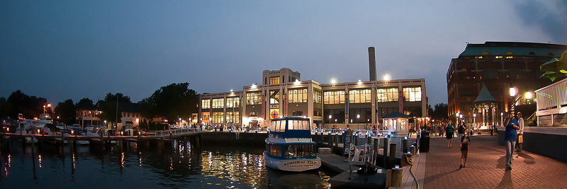 The Torpedo Factory along the waterfront of Old Town Alexandria, VA at night