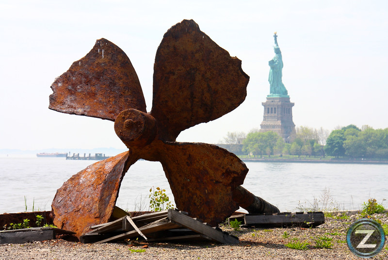"Remains of the ferry boat ""Ellis Island"" Shuttled passengers to NYC after they were cleared on Ellis Island. The boat was recently raised and this is all that remains."