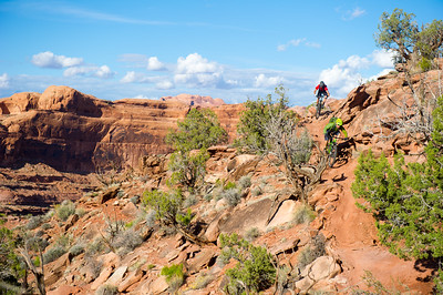 Kyle Mears and Tyson Swasee ride Niner RIP 9 bikes on the Captain Ahab trail in Moab, Utah