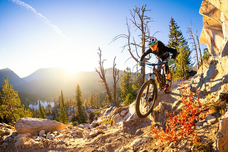 Bekah Rottenberg mountainbikes Dutch Flat Trail near Baker City Oregon