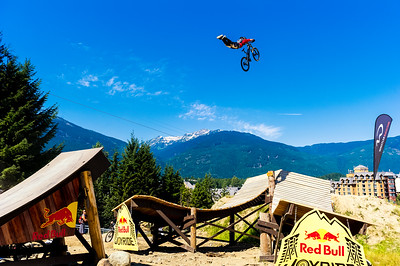 Jamie Goldman boosts a huge superman over the 60 foot double while qualifying for Joyride at Crankworx.