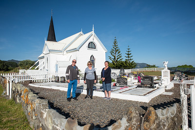 Raukokere Church cemetery, Clive, Anne, Nyree, Bay of Plenty, East Cape, New Zealand