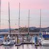 Sunset over Alcatraz at the Pier 39 marina in San Francisco.