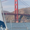 A view off the bow as we sail toward the Golden Gate Bridge in the San Francisco Bay.