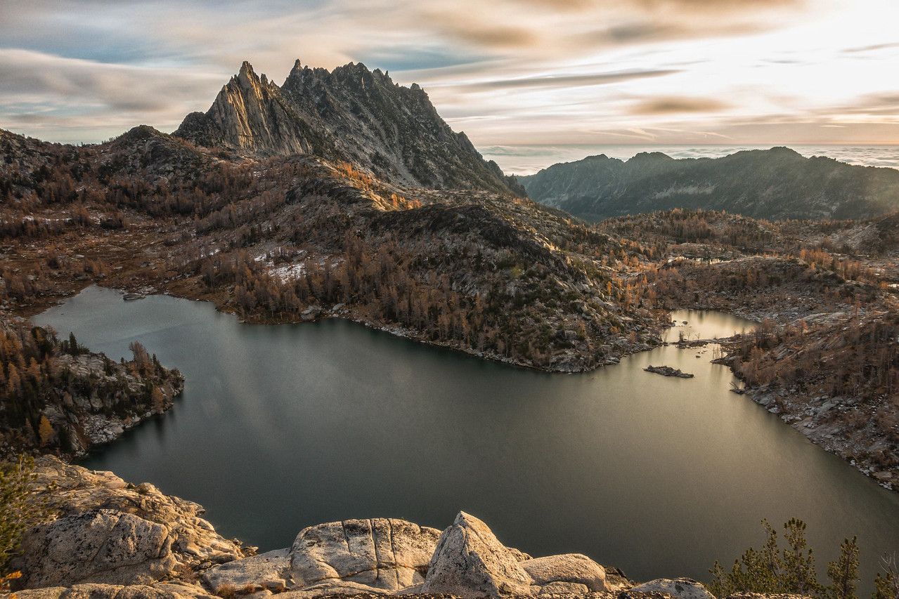 A slightly longer exposure of the sunrise over the Enchantments lower basin, October 19, 2014.  This is single image and exposure using a Singh-Ray ColorCombo Polarizer and Singh-Ray 5-stop ND filter.