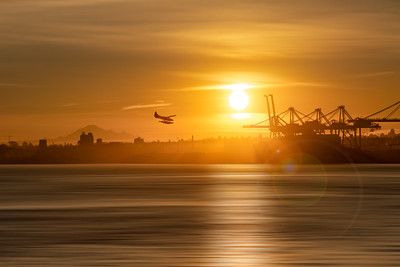 Sunrise over the Vancouver Container Terminal