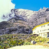 This is the resthouse at Laban Rata on Mount Kinabalu in 1989. I think the flat expanse of gravel I'm standing on to take the photo is a helipad. Water is pumped up but all other supplies are carried up from the Park HQ by porters. This is where most hikers stay overnight on their ascent the the summit.