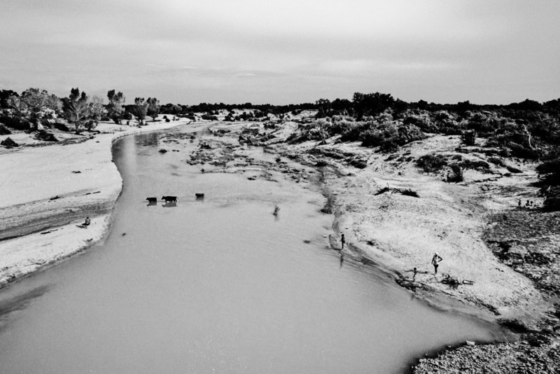 Sand River Crossing BW