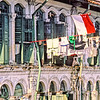 The Singapore State Flag and a load of laundry fly above Pagoda Street, Singapore, August, 1989.