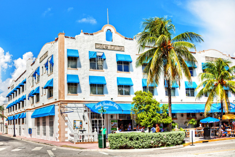 The Beach Paradise Hotel sits on Ocean Drive at 6th Street, South Beach, Miami.