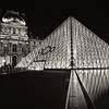 Louvre Pyramid Entrance BW