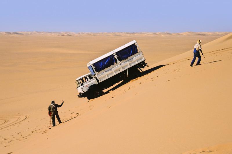 Line Truck Descending a Dune