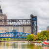 Views of Cleveland.  The lift bridge on Carter Road over the Cuyahoga river with Tower City in the background