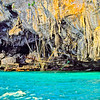 Entrance to a Swift's Cave in the Phi Phi Islands, Thailand. The swift's nests are harvested for Birds Nest Soup.