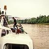 Soon Hong No. 7 sits at the jetty at Long Terawan as passengers board for the trip down river to Kuala Baram via Marudi. 1989.