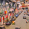 Pagoda Street, Singapore, August 1989. Today this street appears to be a pedestrian street. At the end of Pagoda Street is South Bridge Road. On the left is the Jamee Mosque and on the right is the Sri Mariamman Temple (not that you can make them out in this photo).