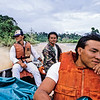 The crew and a fellow passenger on the boat I took for the 75-mile ride from Marudi to Long Terawan on my way to Mulu in 1989.