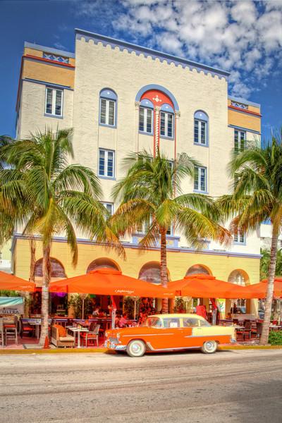 Ocean's Ten Restaurant on Ocean Drive at 10th Street, Ocean Drive, South Beach, Miami. Florida