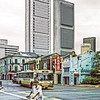A many with a bike walks across the intersection of Upper Cross Street with South Bridge Road, Singapore, August 1989.