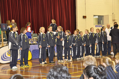 Girls receiving Gold Medals