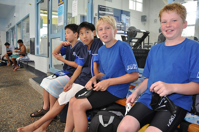 The winning Junior Boys Relay team Isamu, Honjin Kim, Harrison Manks and Olly Young
