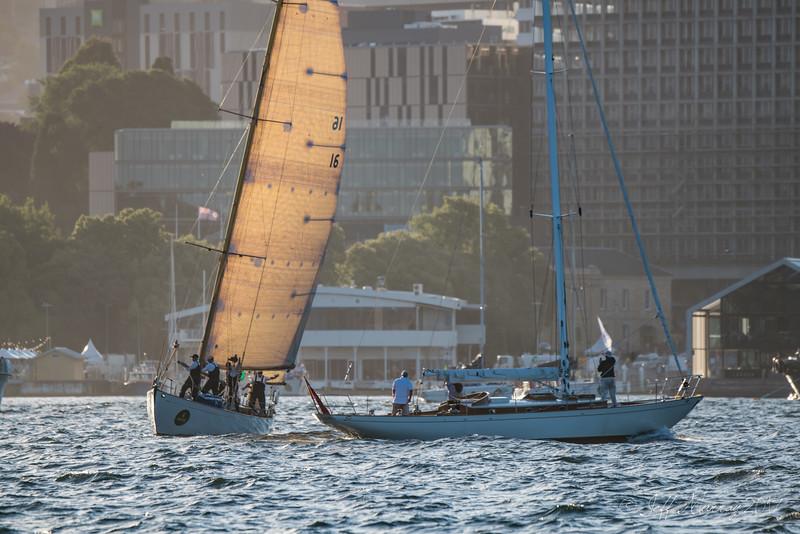 The crew of Sirocco congratulate Dorade
