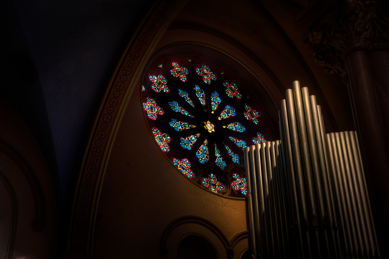 St. Mary's Rose Window and Side Organ Pipes