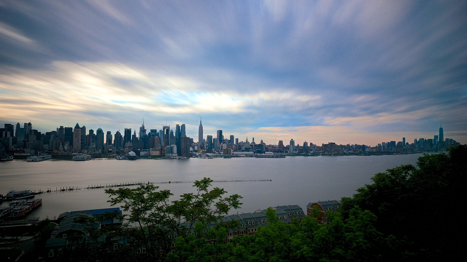 Manhattan Skyline - Long Exposure From Weehawken