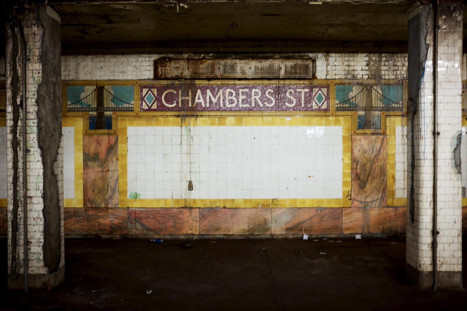Chambers Street Subway Station Tiling