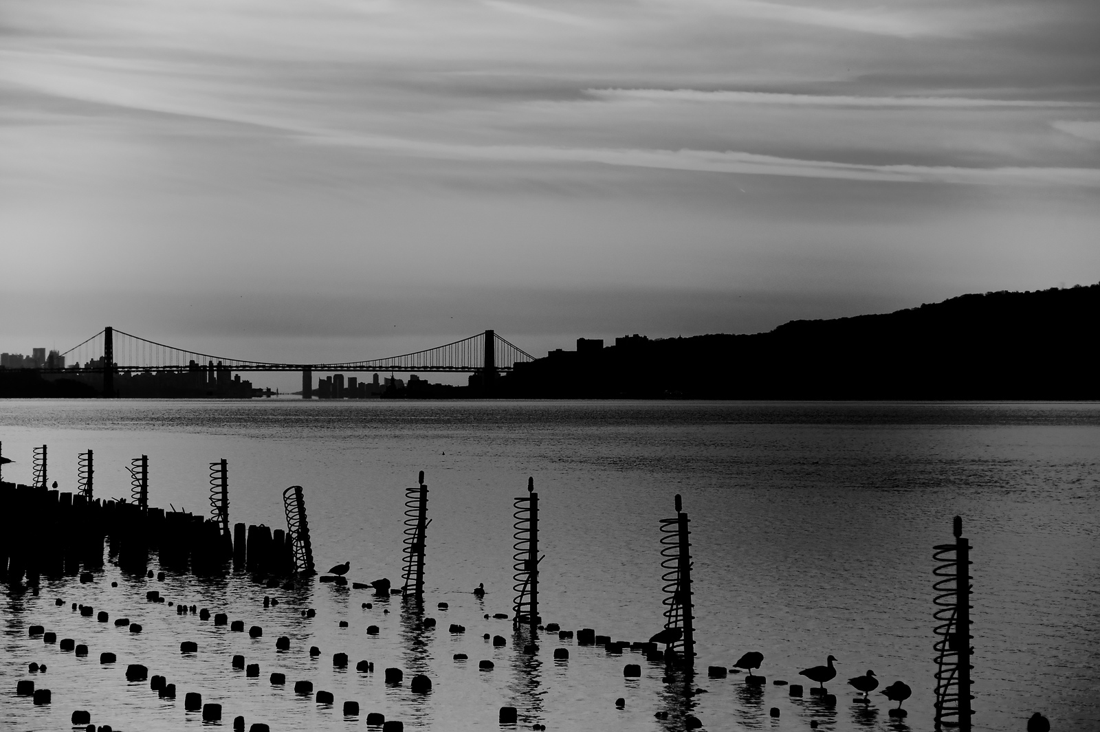 Hudson River and George Washington Bridge From Yonkers Pier