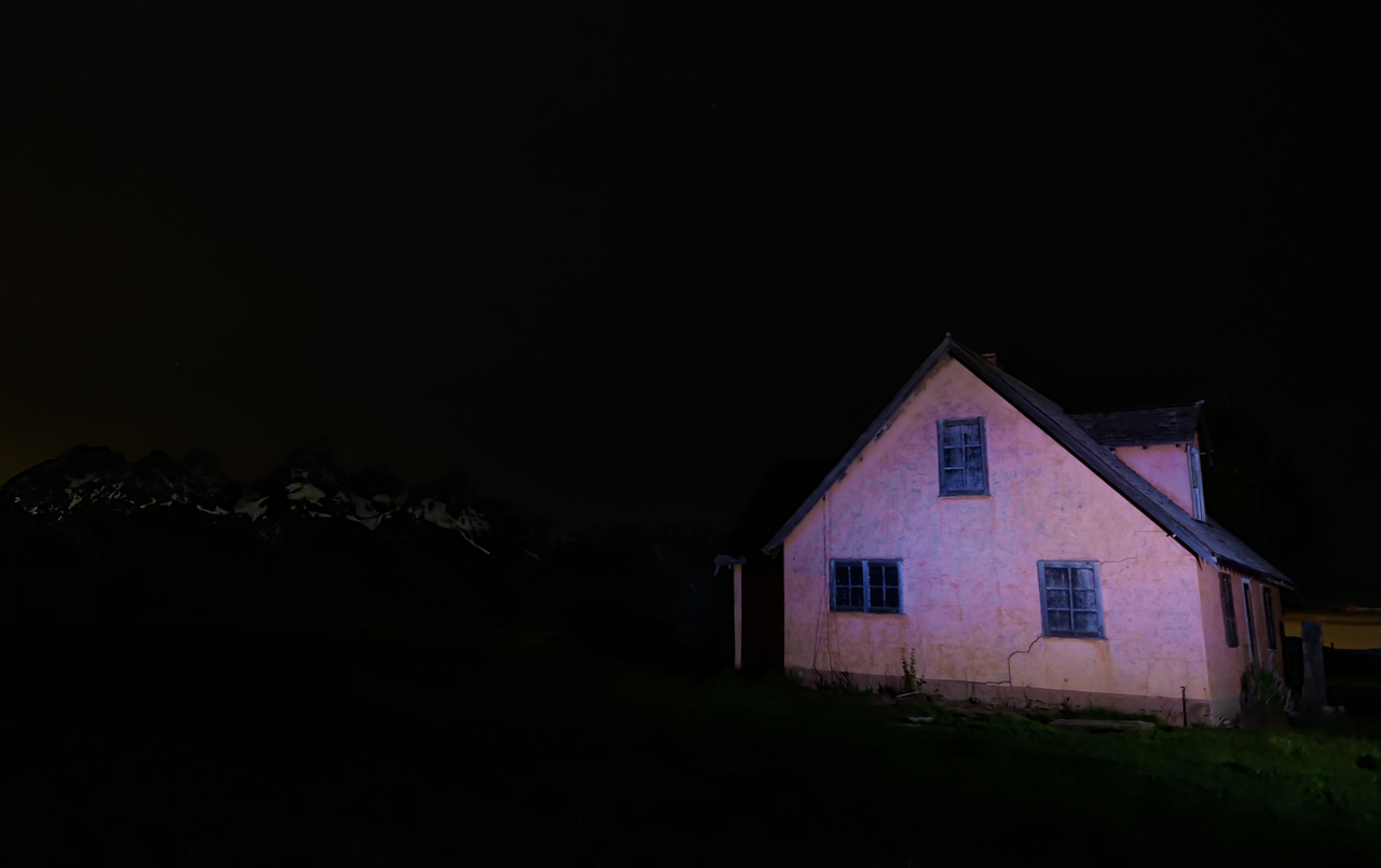 Mormon Row Pink House at Night