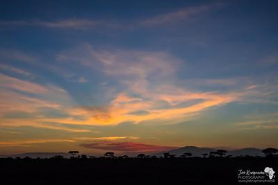 Sunrise over the Ngorongoro hills