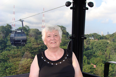 Mom in the Cable Car - leaving the top of Mount Faber