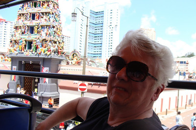 Mom's first full day in Singapore and the touring has begun!  After a great breakfast in the hotel's concierge lounge - we took a 2 1/2 hour tour of the city of Singapore on an open-top bus.  Great start for Mom to get a nice overview of the area.  Here she is riding past the Sri Mariamman Temple which, believe it or not, is just a few blocks from her hotel