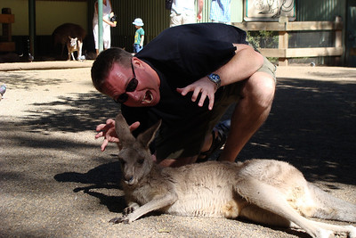 Dan is either going to scare the crap out of this kangaroo - or he is going to eat it!
