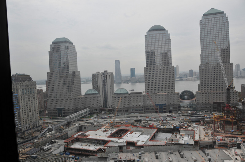 At the bottom of this picture is the World Trade Center Memorial taking shape. The squares on the right and (forming) on the left were where the Towers stood. They will be pools as part of the Memorial.