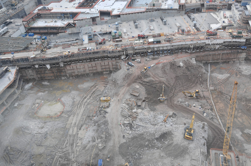 This area is where so-called Towers 2 and 3 will be constructed, but they are still excavating and removing debris.