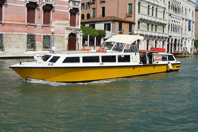 """First stop on the tour of Italy was Venice!  This...I kid you not...is the """"taxi"""" I took from the airport to my hotel.  I picked this boat up about 100 meters outside baggage claim"""