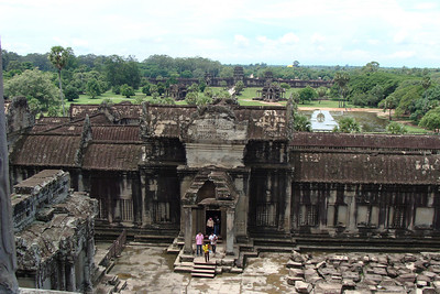 Looking from the top of Angkor Wat out towards the inner wall - the moat - and beyond that, the outer wall