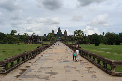 Entering through the gates - looking towards the glorious towers of Angkor Wat