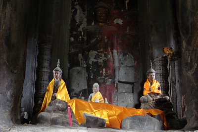 Some of the Buddhist temples inside Angkor Wat are still very much used