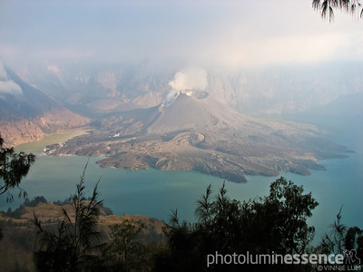 View of the caldera of Gunung Rinjani, Lombok, Indonesia.