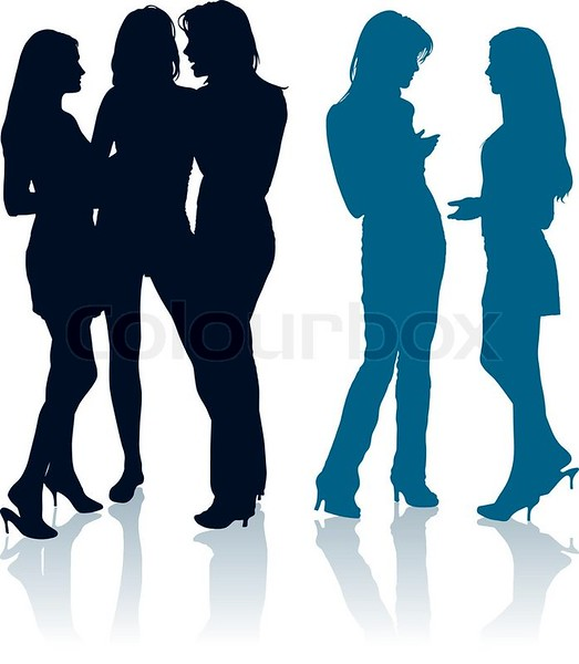 6545868-silhouettes-of-young-women-chatting-with-each-other