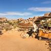 Wooden seats in the desert