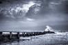Storm at Folly Beach #2 B&W