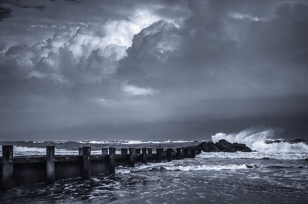 Storm at Folly Beach #1 B&W