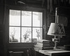 Oil Lamp and Cabin Window, B&W